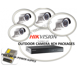 Hik Cctv HD-TVI 720P Type Outdoor 4Ch Package Free Power Supply12V5A